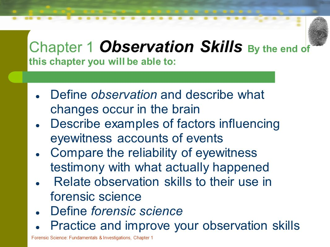 Chapter One Observation Skills