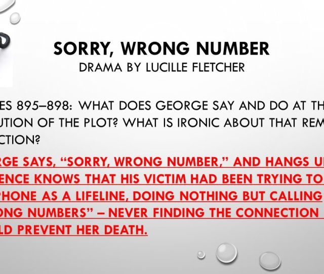 Sorry Wrong Number Drama By Lucille Fletcher
