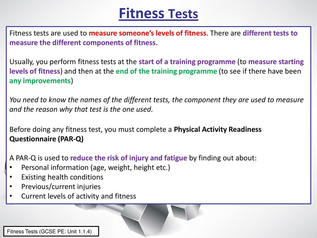 Fitness Tests Fitness Tests Are Used To Measure Someone S Levels Of Fitness There Are Different