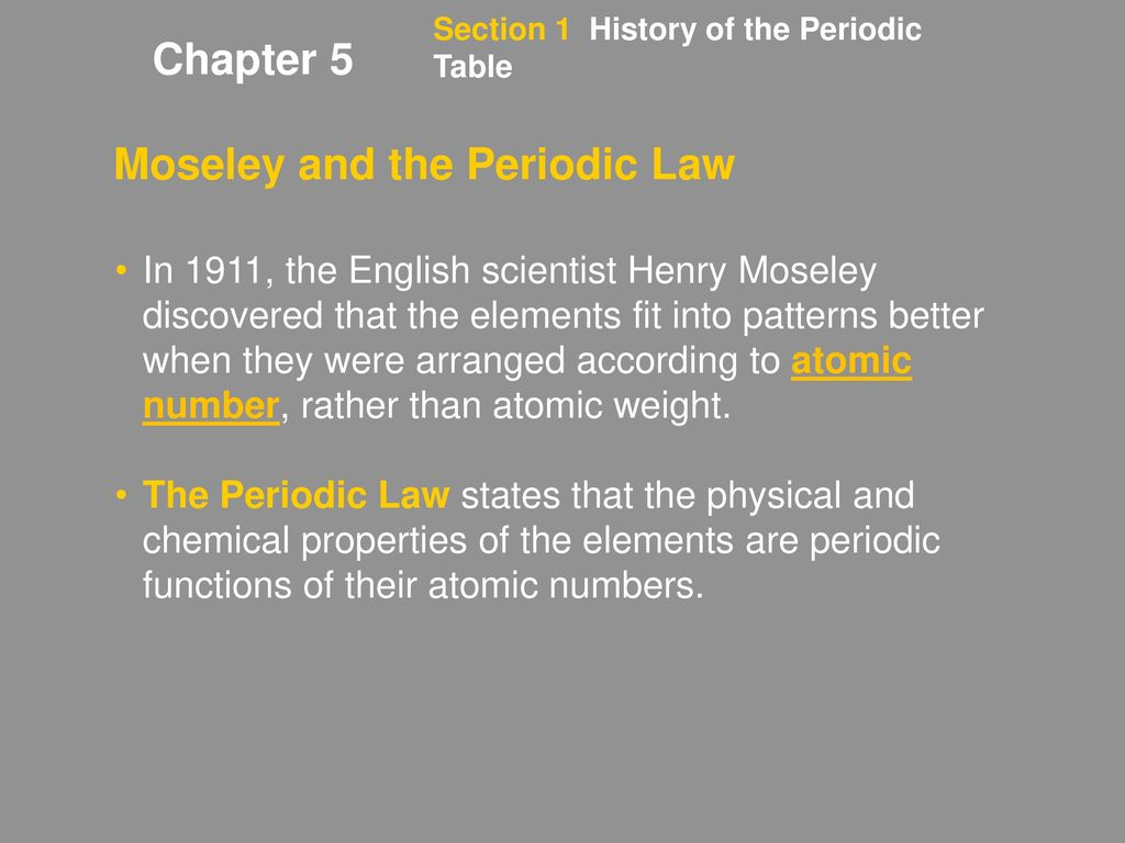 Chapter 5 Objectives Section 1 History Of The Periodic Table