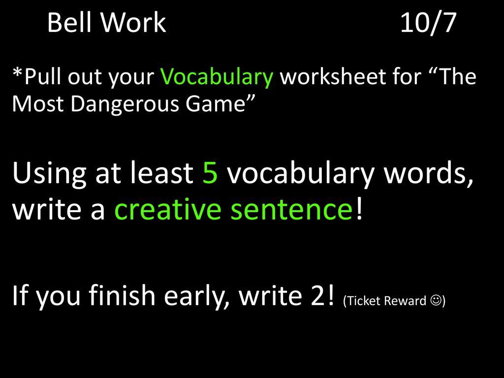 Most Dangerous Game Worksheet