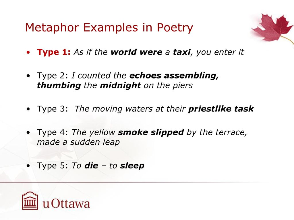 Metaphors In Poetry Examples