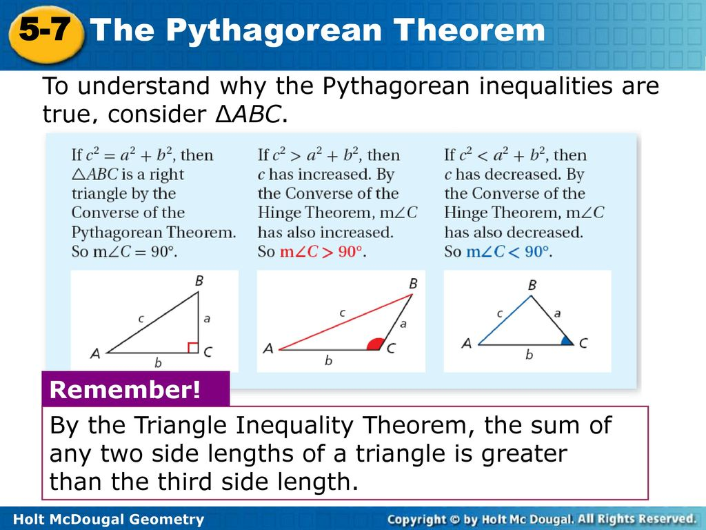 5 7 The Pythagorean Inequality Theorem Worksheet Answers