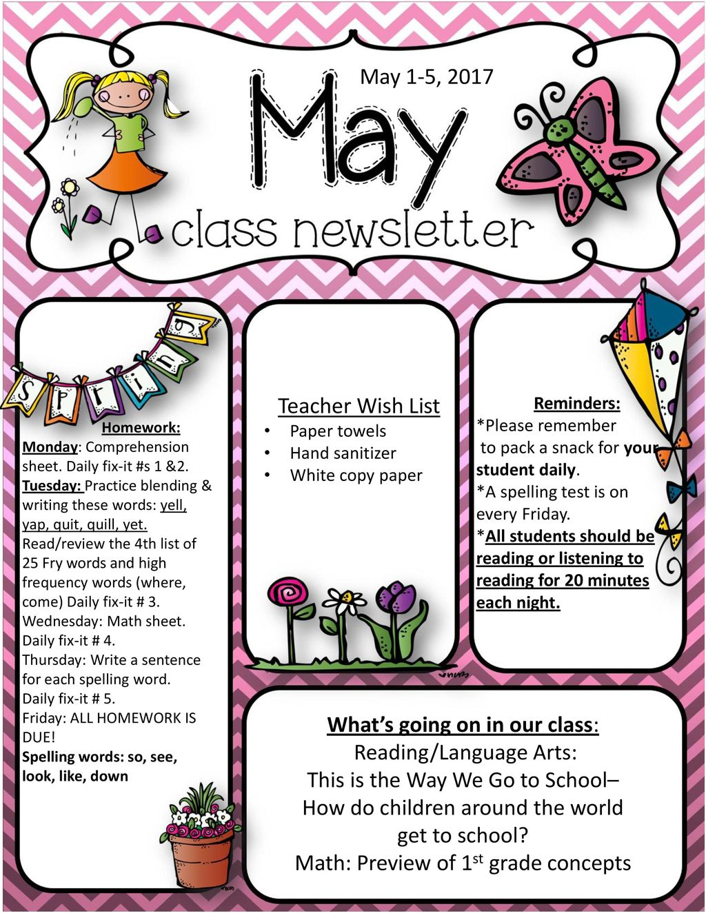 1st Grade Daily Language Review Worksheets