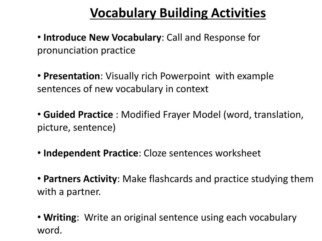 Teaching Vocabulary Through Sentence Stems