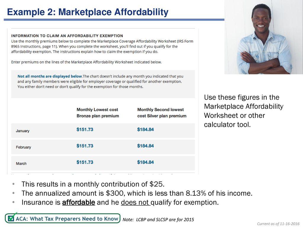 Printables Of Marketplace Coverage Affordability Worksheet
