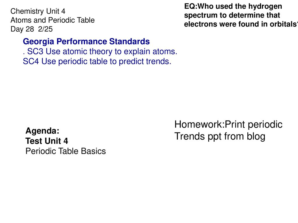 Chemistry 1 Worksheet Periodic Trends