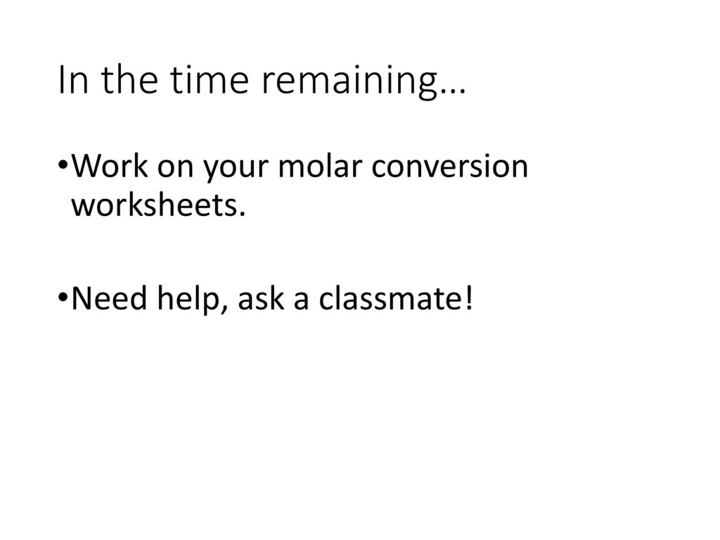 Molar Conversion Worksheet Answers