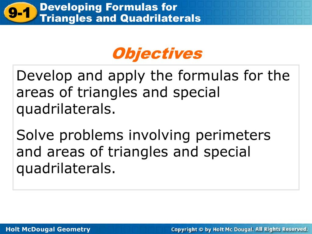 Lesson 9 1 Problem Solving Developing Formulas For