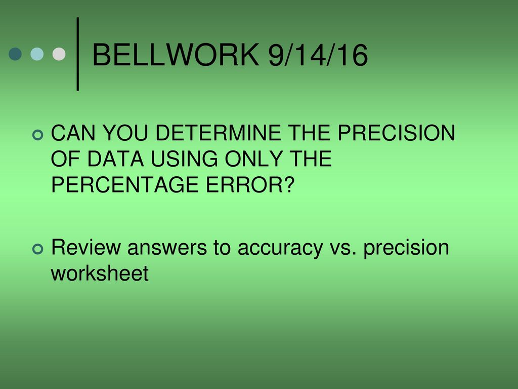 Accuracy Vs Precision Worksheet Answers