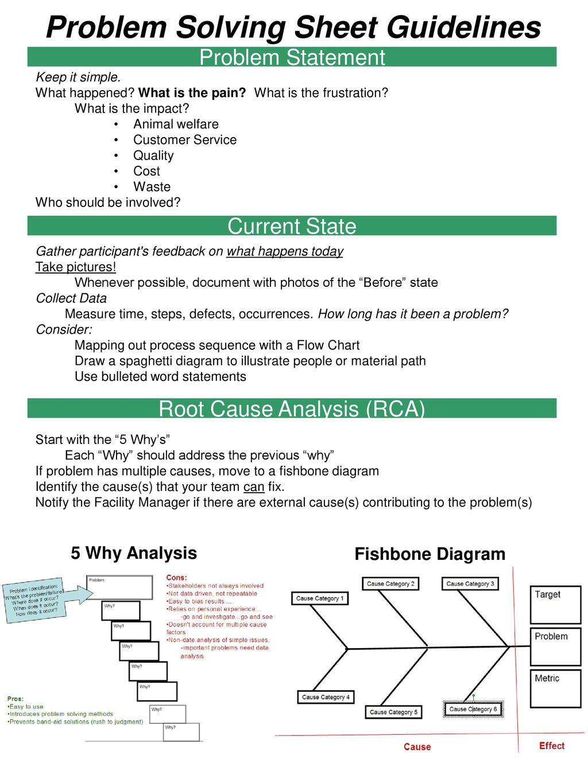 Problem Solving Sheet Guidelines
