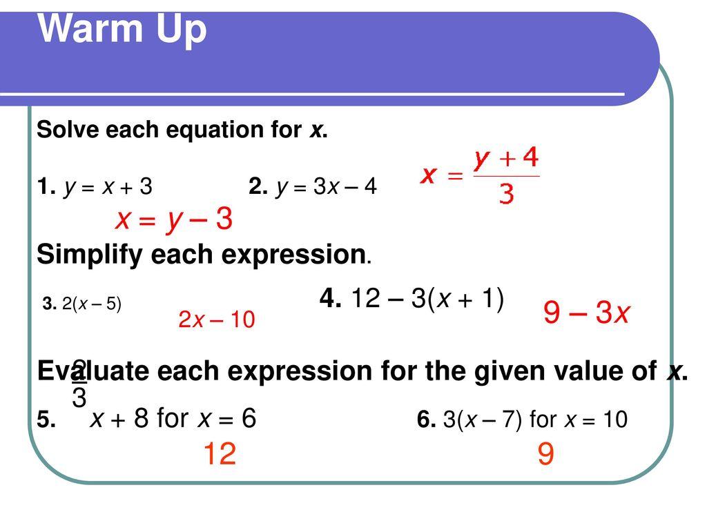 Solve Y 3x 4