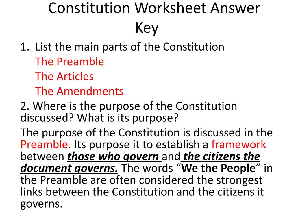 Constitution Worksheet Answer Key