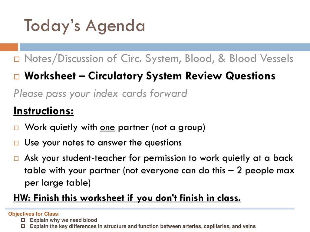 Bio 9a Wednesday Title Circulatory System