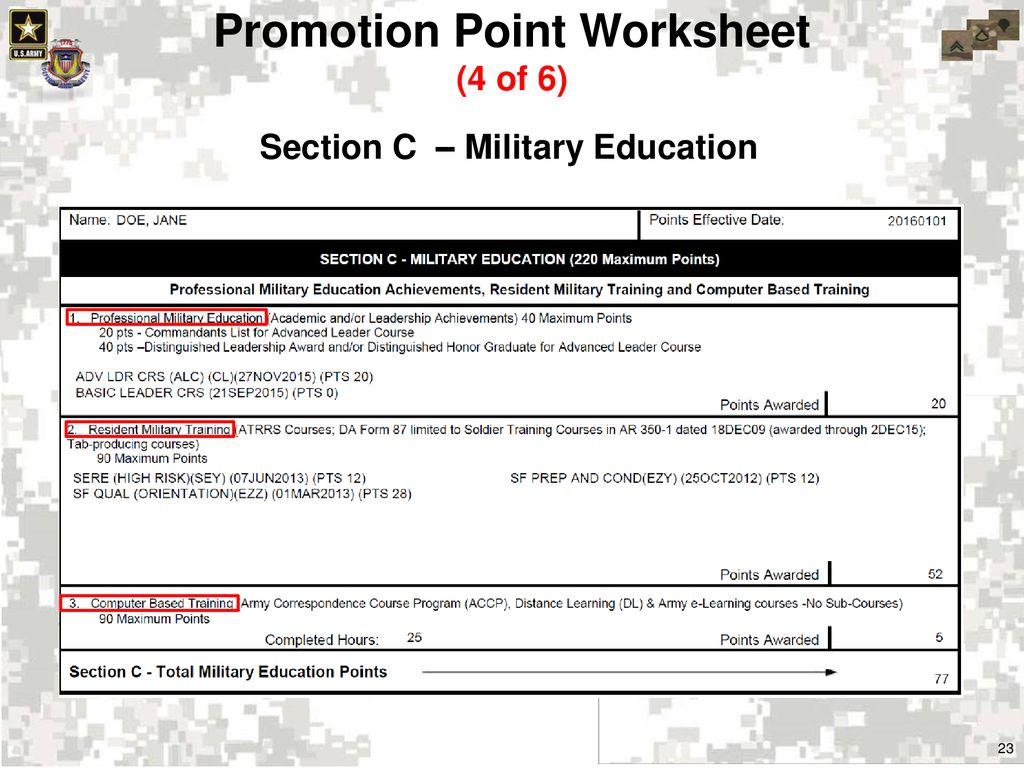 Worksheets Army Promotion Point Worksheet Cheatslist Free Worksheets For Kids Amp Printable