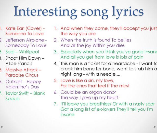 Interesting Song Lyrics