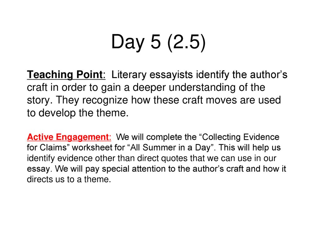 Top All Summer In A Day Worksheet
