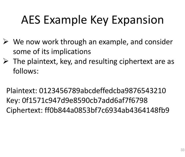 33 Aes Example Key Expansion
