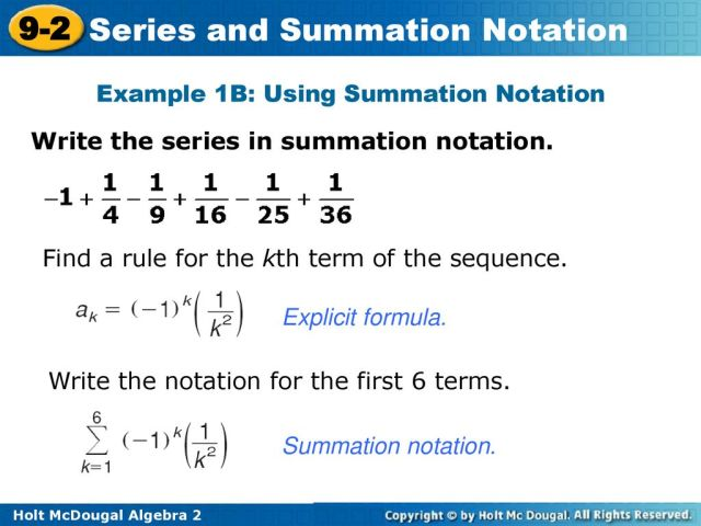 Objective Evaluate the sum of a series expressed in sigma notation