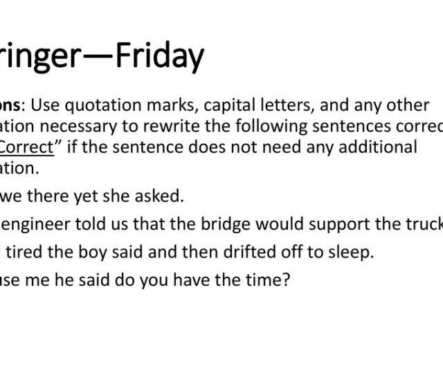 Bellringer Friday Directions