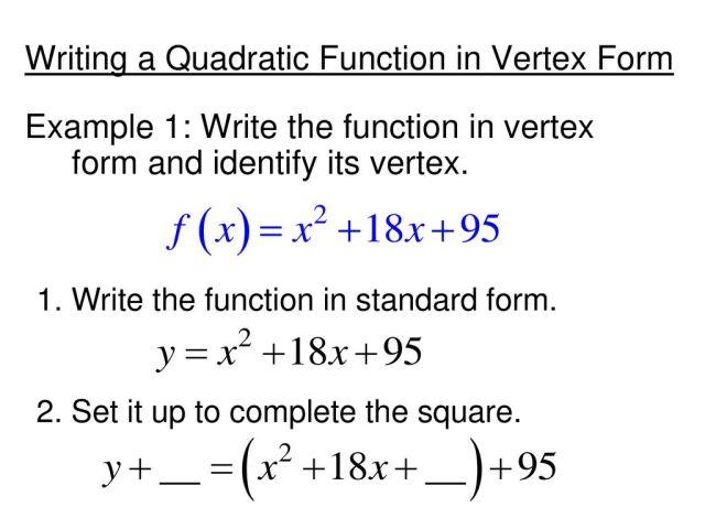 Quadratics in Vertex Form - ppt download