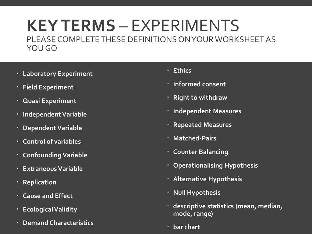 Independent And Dependent Variables Worksheet Psychology
