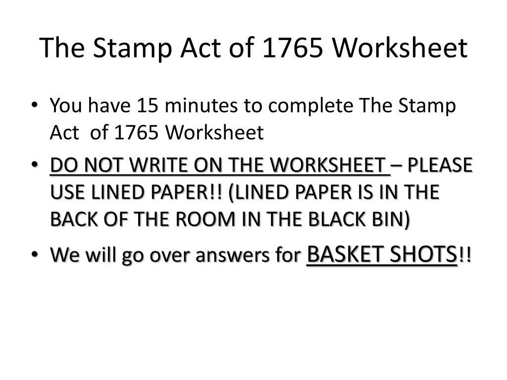 Stamp Act Worksheet