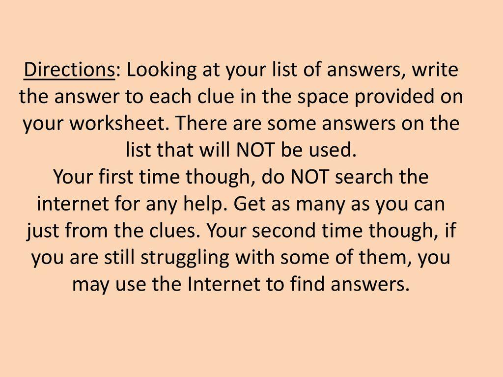 Worksheet Computer Basics