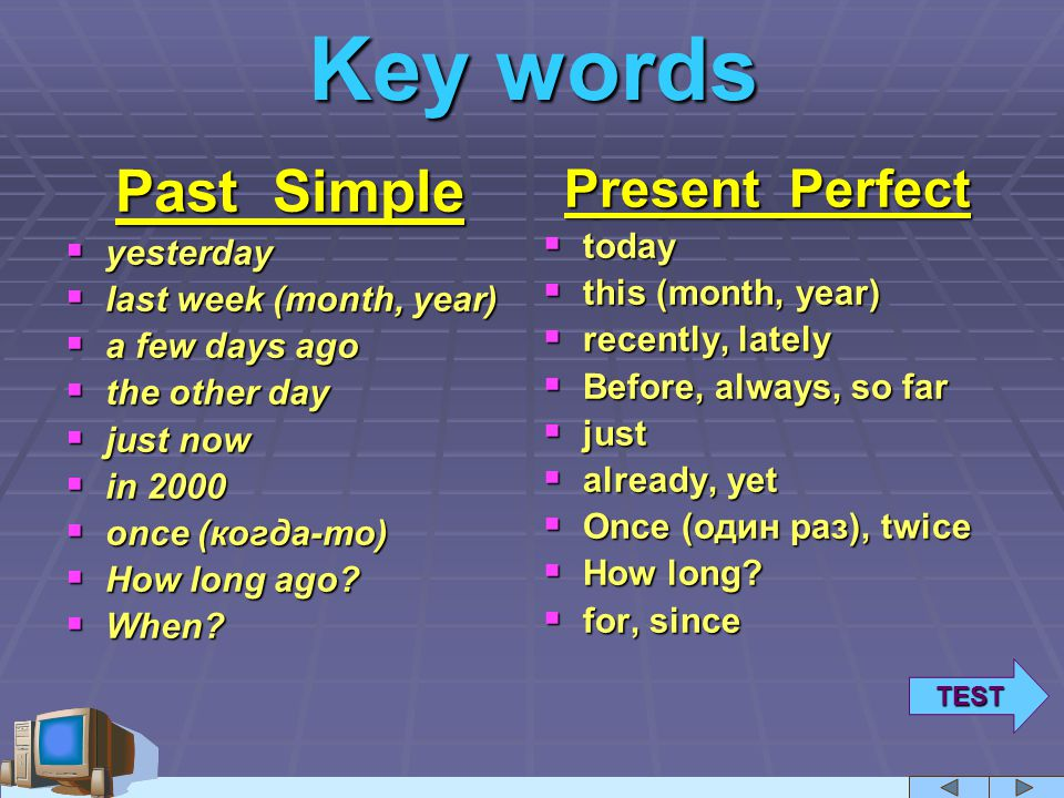 keywords! (past simple & present perfect) – Learning with Mr
