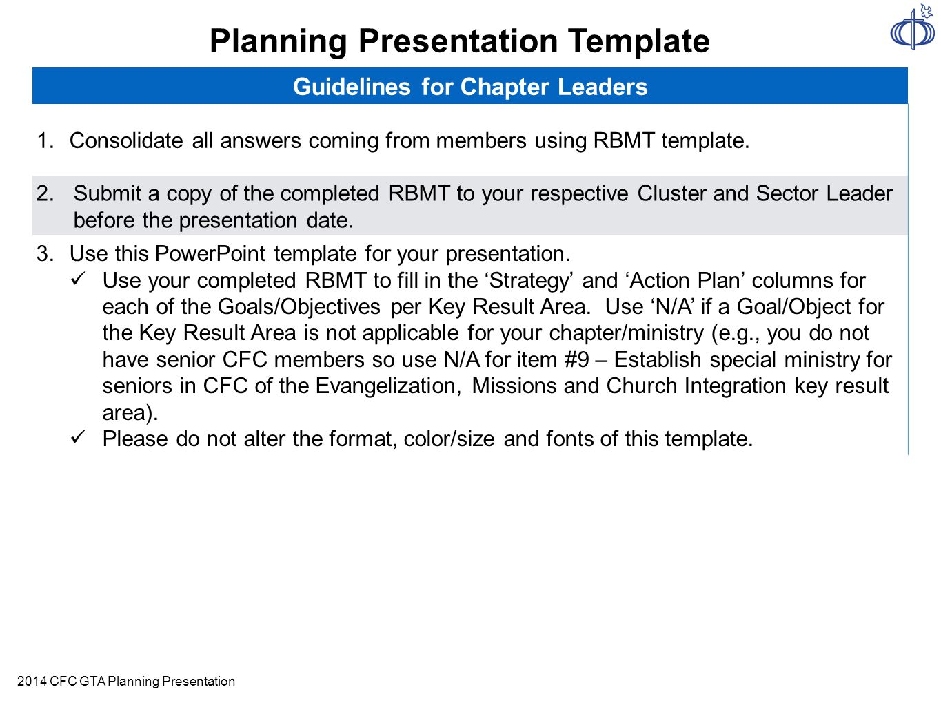 Planning Presentation Template Guidelines For Chapter Leaders