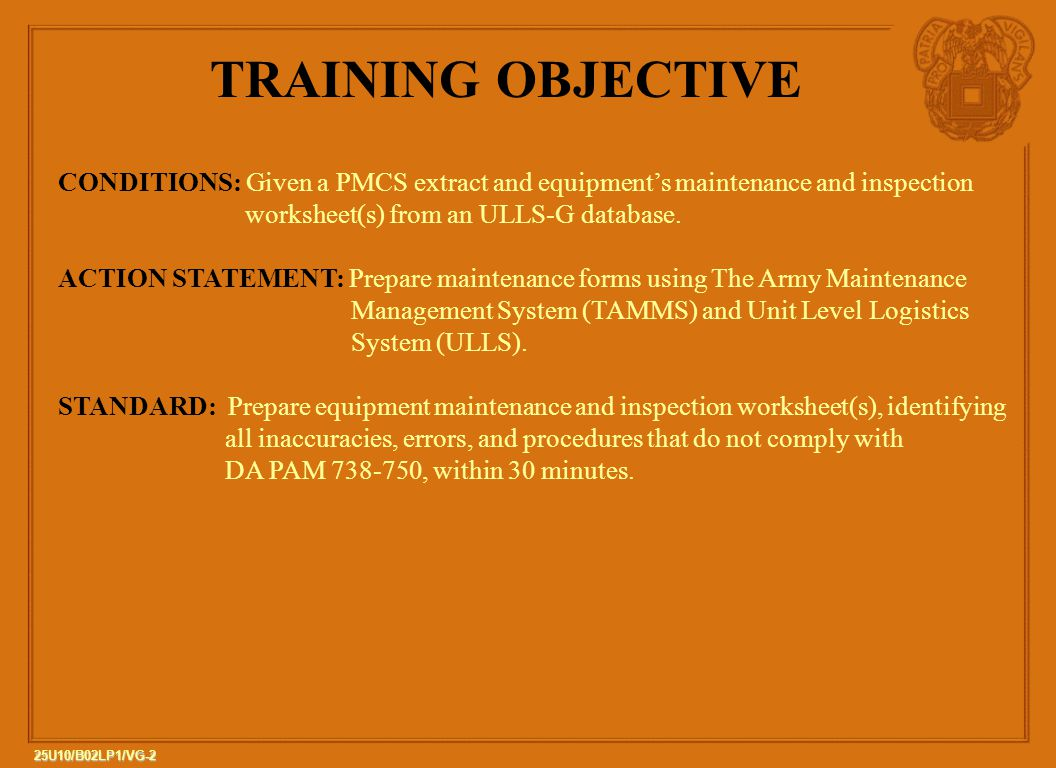 25u10 B02 Lp1 The Army Maintenance Management System