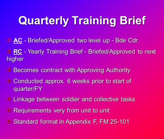 Quarterly Training Brief