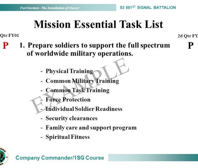 Example Mission Essential Task List P P