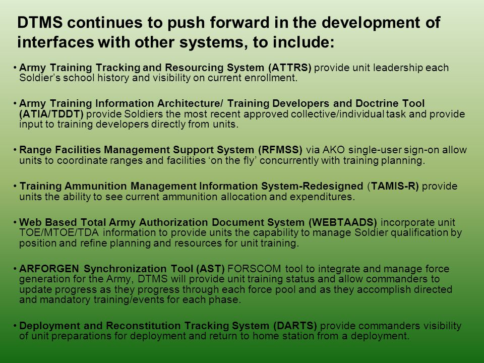 Digital Training Management System DTMS Ppt Video Online Download DTMS  Continues To Push Forward In The