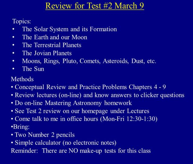 Review For Test  Topics The Solar System And Its Formation