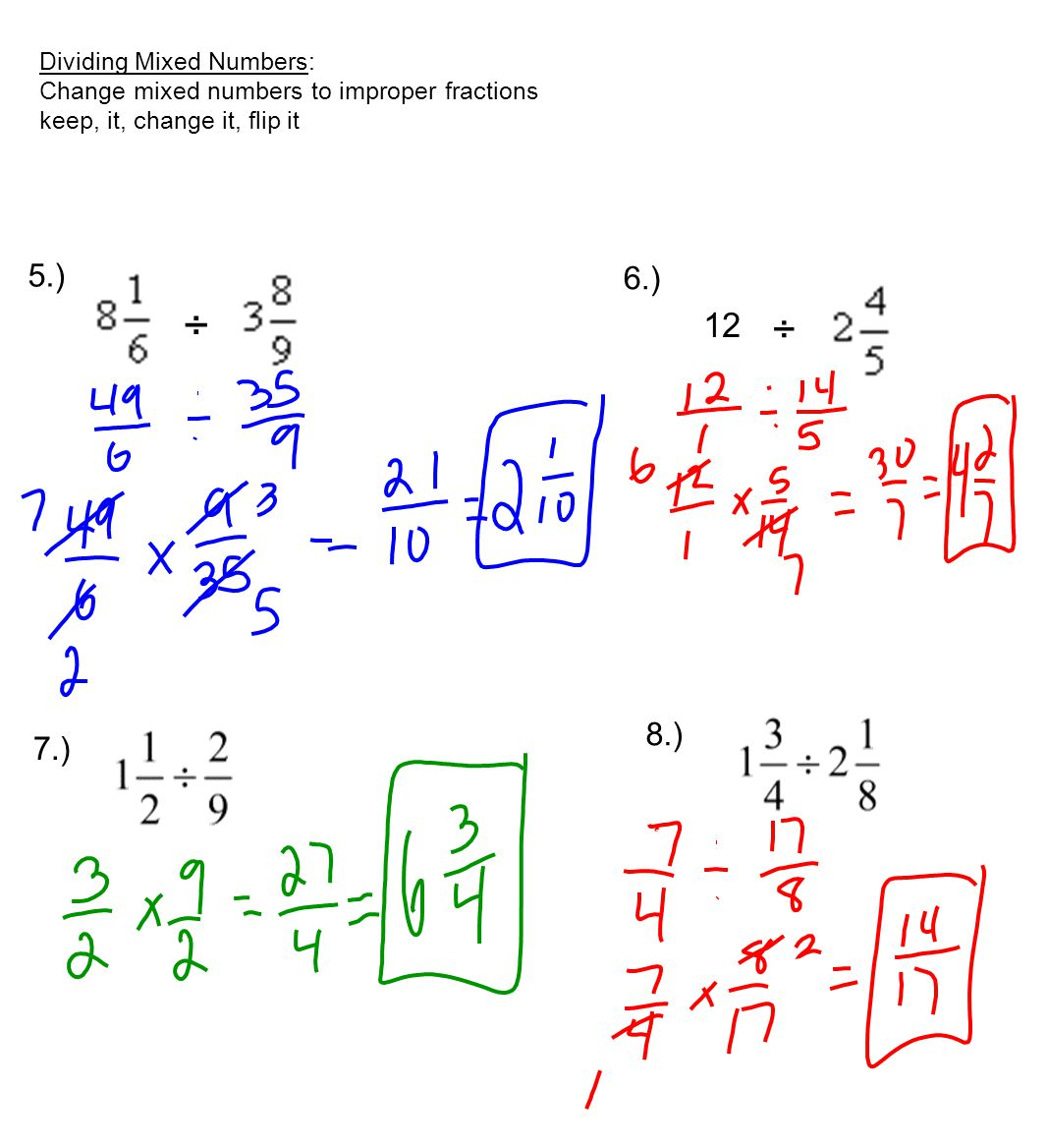 Mixed Fraction Examples