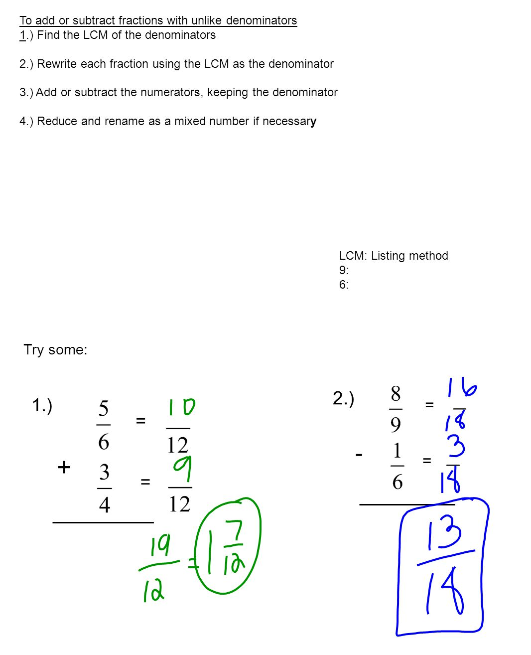 Subtracting Fractions With Unlike Denominators And