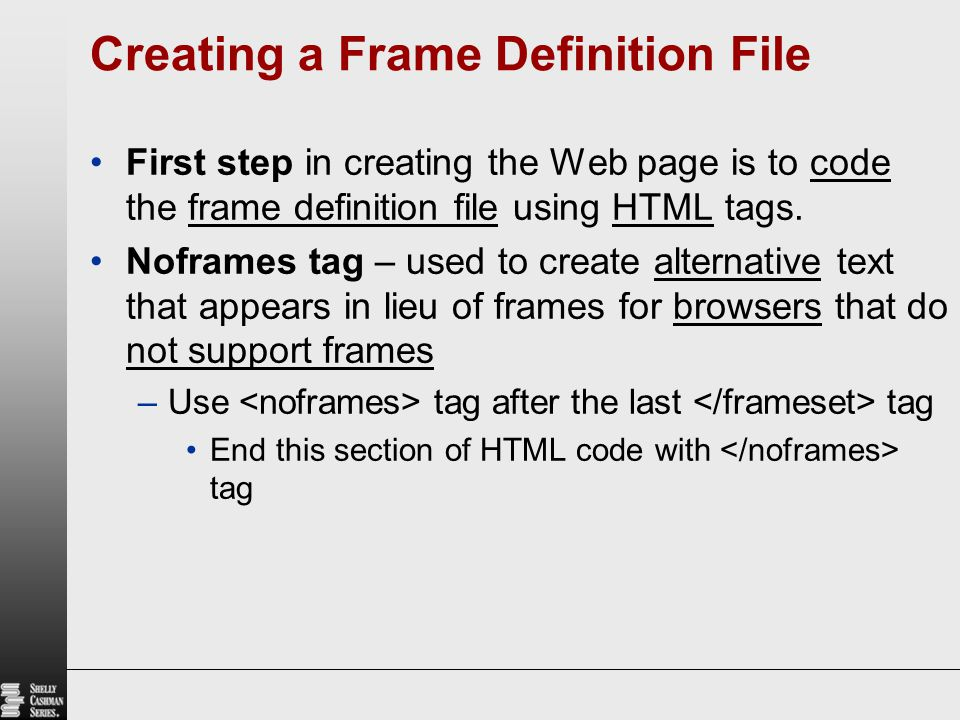 Definition Of Frame Tag In Html | Siteframes.co