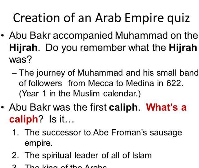 Creation Of An Arab Empire Quiz