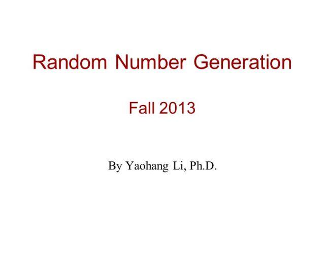 Random Number Generation Fall 2013