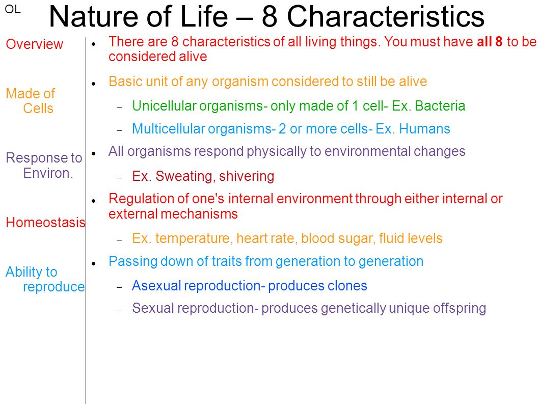 8 Living Characteristics The 8 Characteristics Of Living