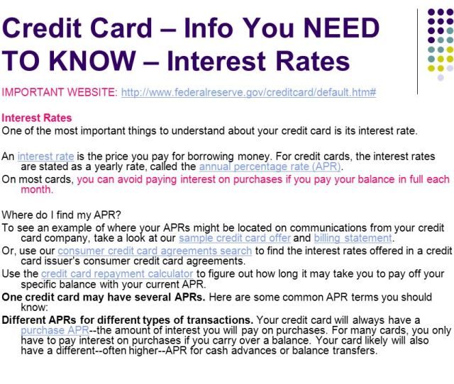 Credit Card Info You Need To Know Interest Rates