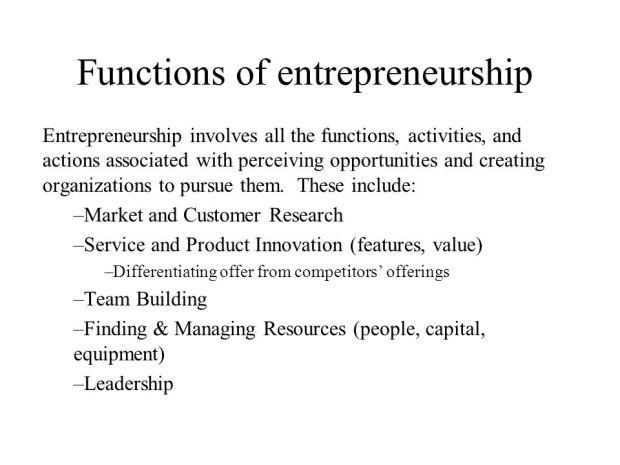 functions of entrepreneurship