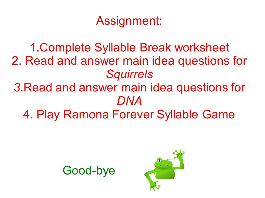 Lesson 9 3rd Grade Language Arts Syllabication Main Idea