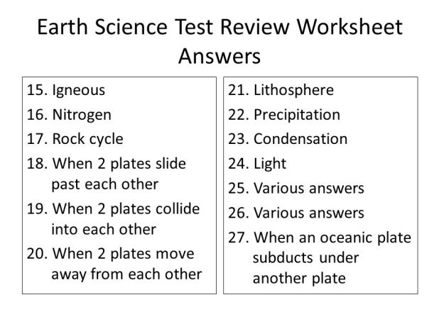 Earth science reference table review worksheet answer key