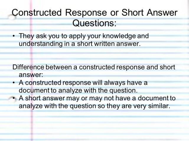 How to Answer Constructed Response or Short Answer Questions using