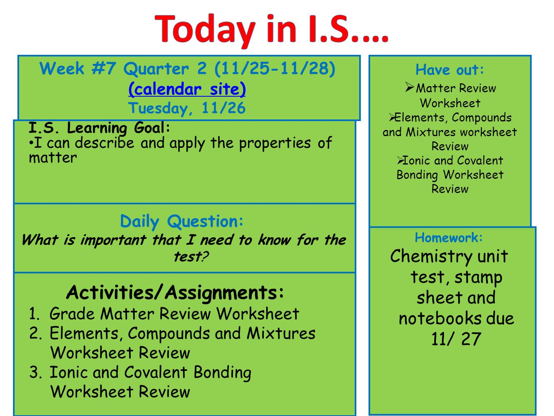 Today In I S Week 7 Quarter 2 11 25 11 28 Calendar