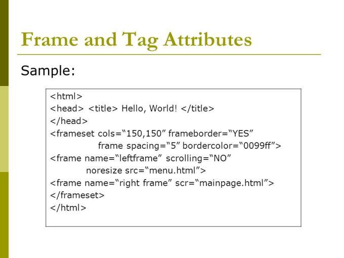 Html Frame Tag Attributes   Frameviewjdi.org