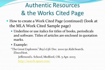 works cited page mla format example websites image collections