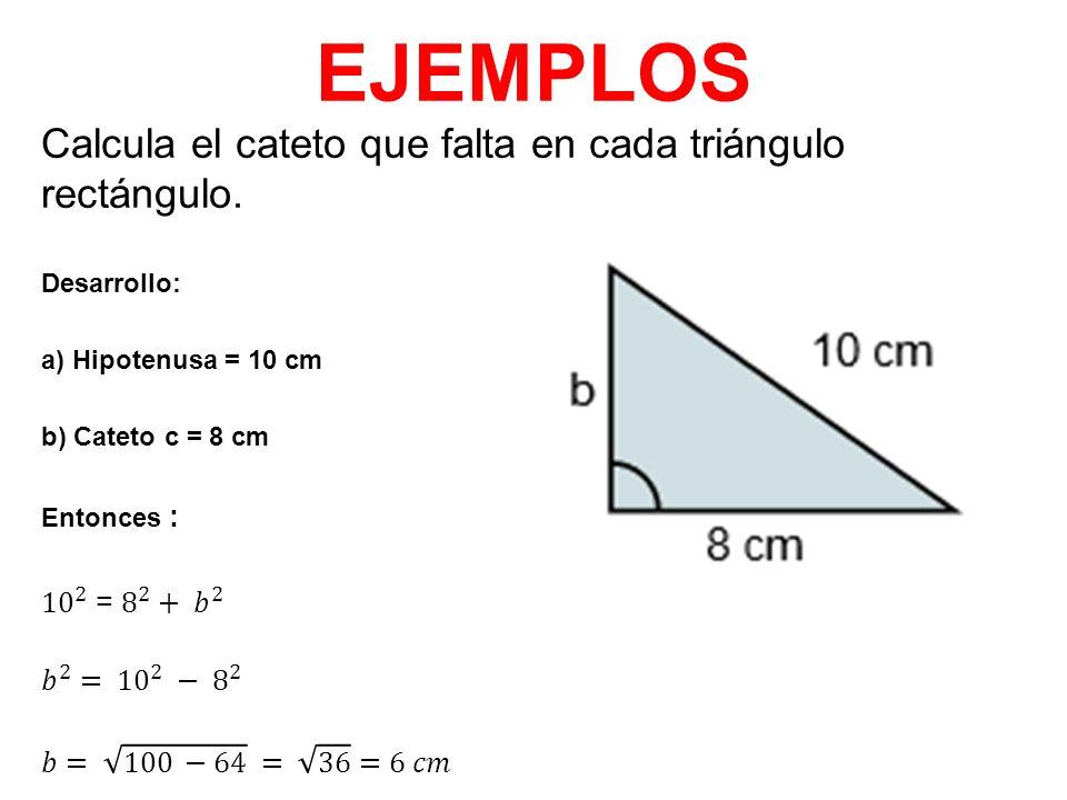 Resultado de imagen para Calcula el cateto que falta en el triángulo rectángulo.